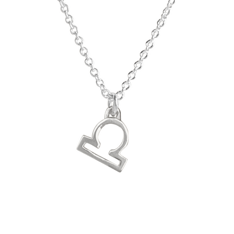 silver Libra Zodiac sign charm necklace