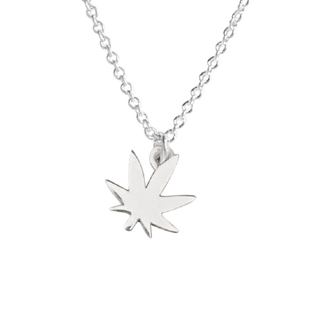 silver marijuana leaf necklace