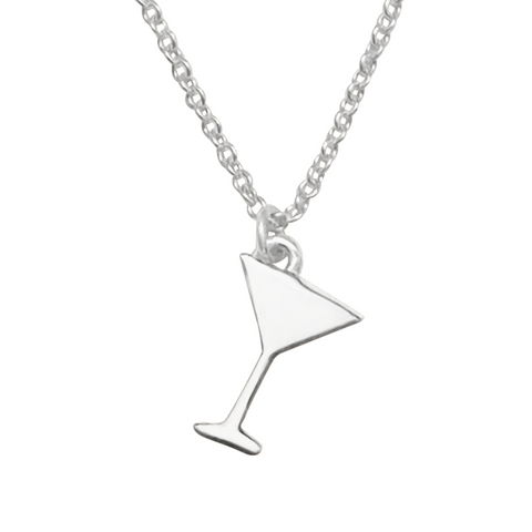 sterling silver martini glass charm necklace