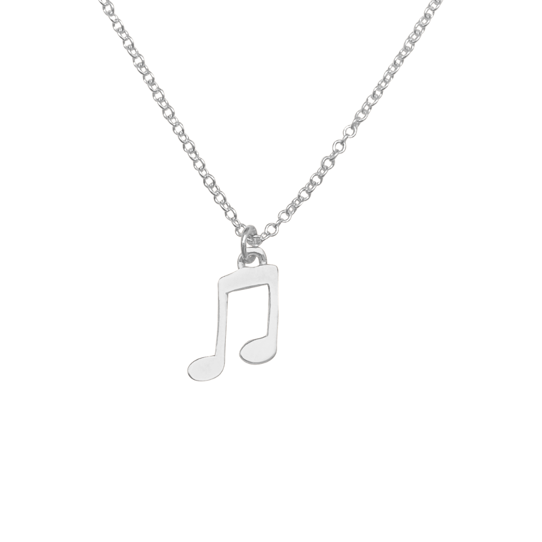 silver music note charm necklace