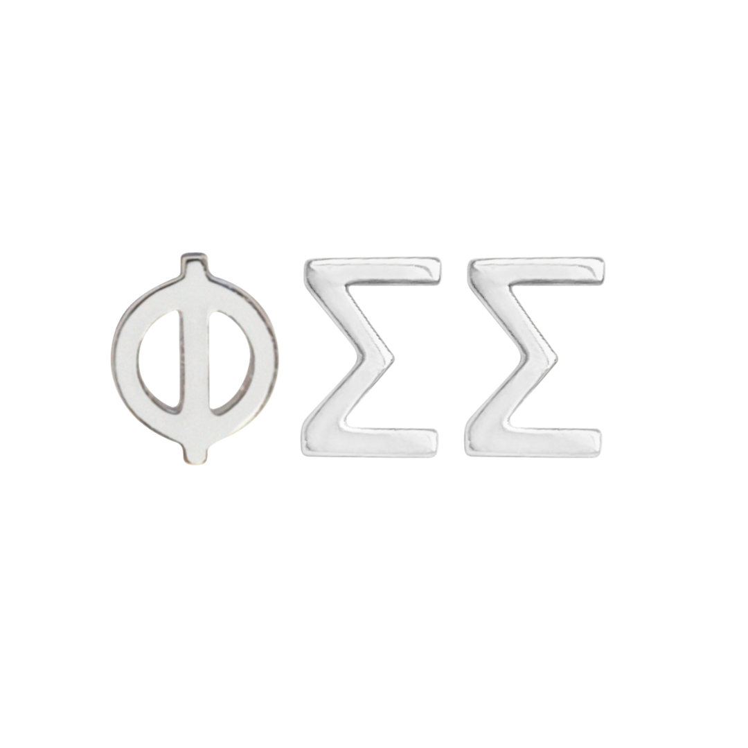 silver phi sigma sigma earrings