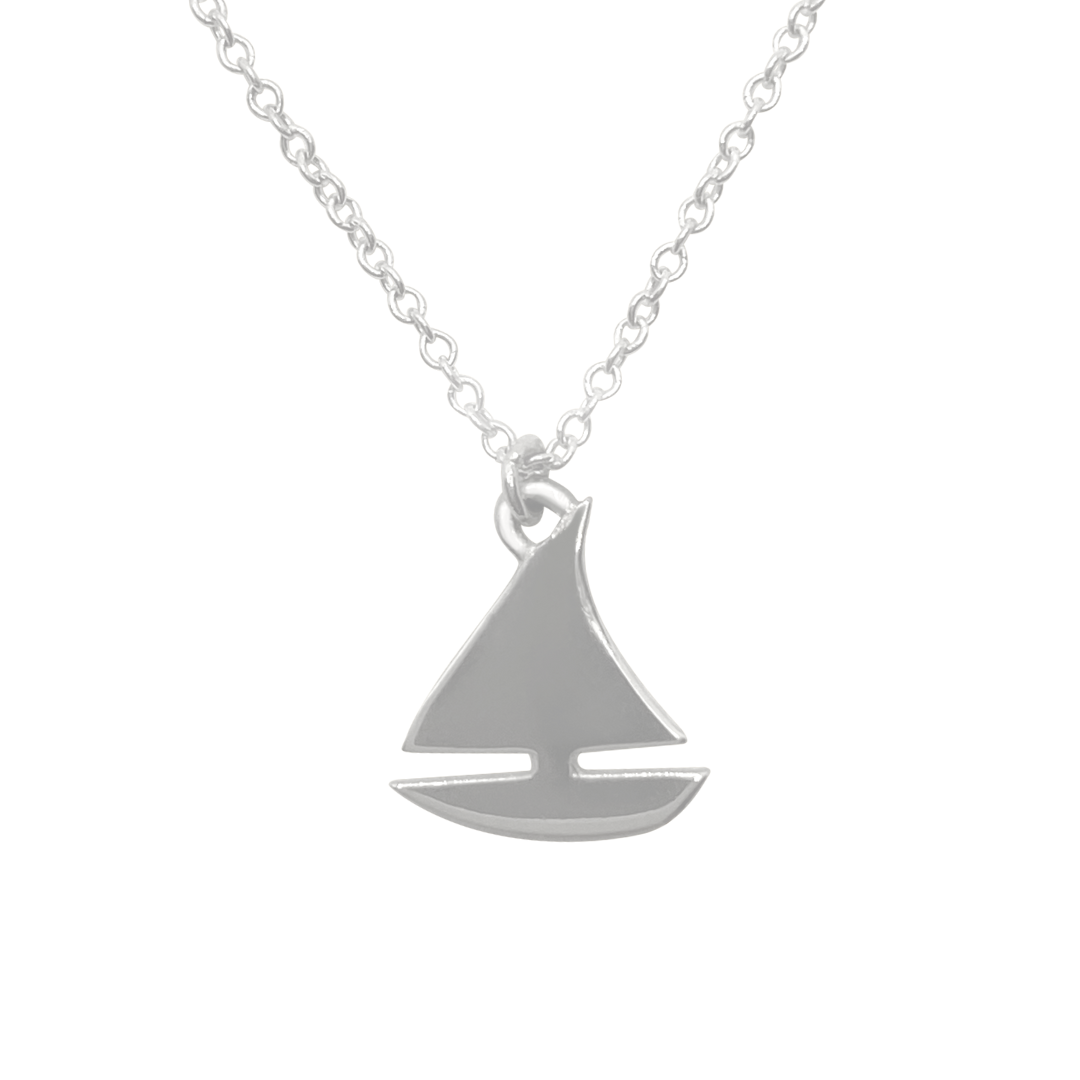 Silver sailboat charm necklace