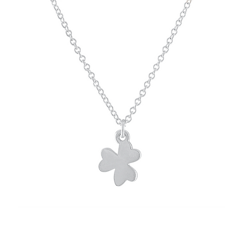 silver solid shamrock charm necklace