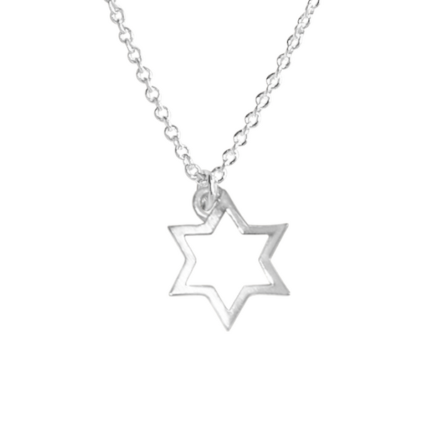 silver Star of David charm necklace
