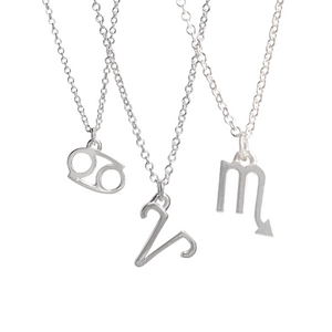 Sterling silver astrology necklaces include cancer sign, aries sign, and scorpio sign.