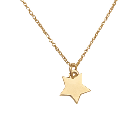 solid 14k gold star necklace
