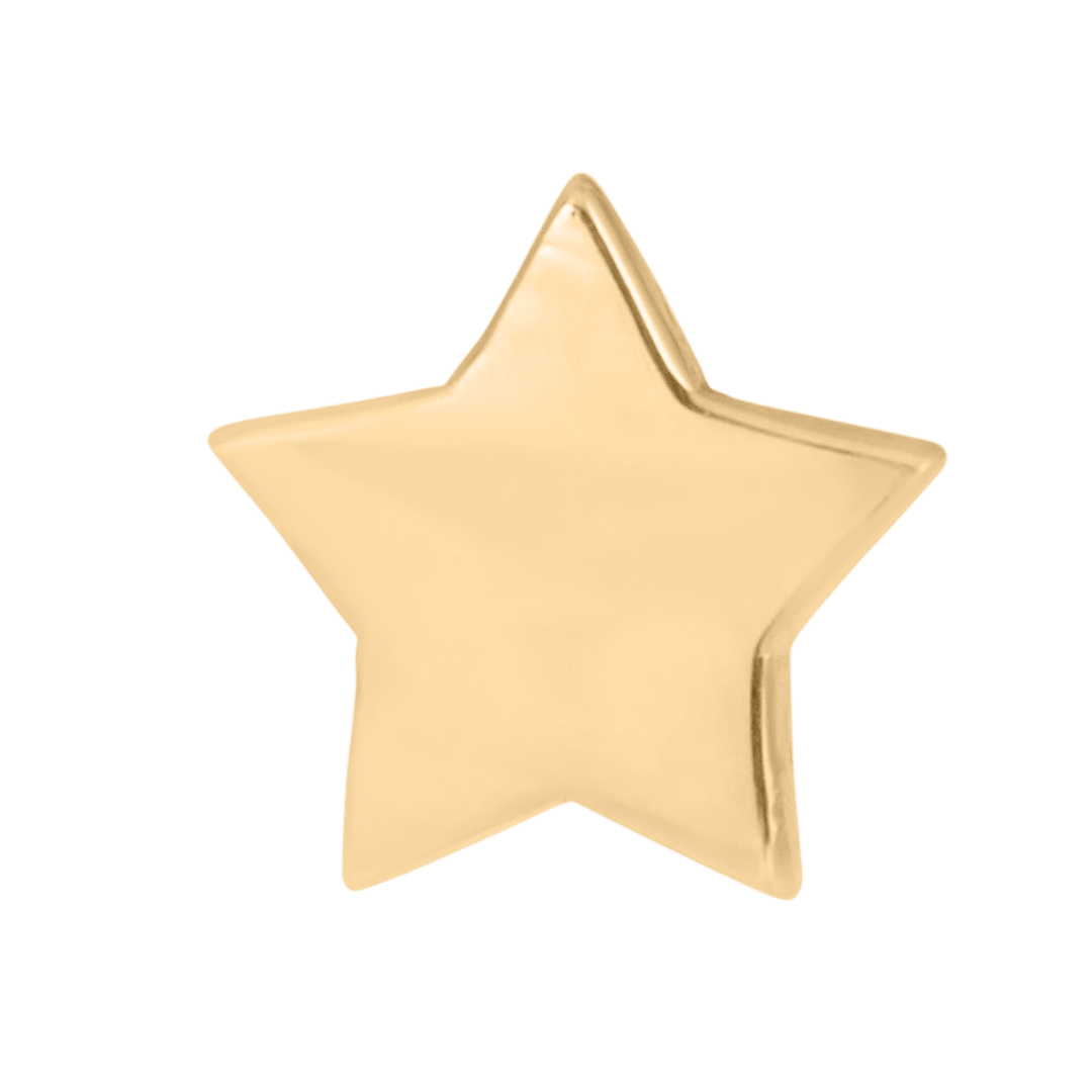 star stud earring in 14k gold on a white background