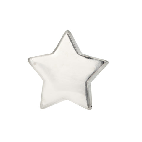 sterling silver star stud earring on white background