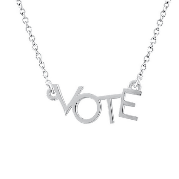 Close up shot of sterling silver VOTE necklace