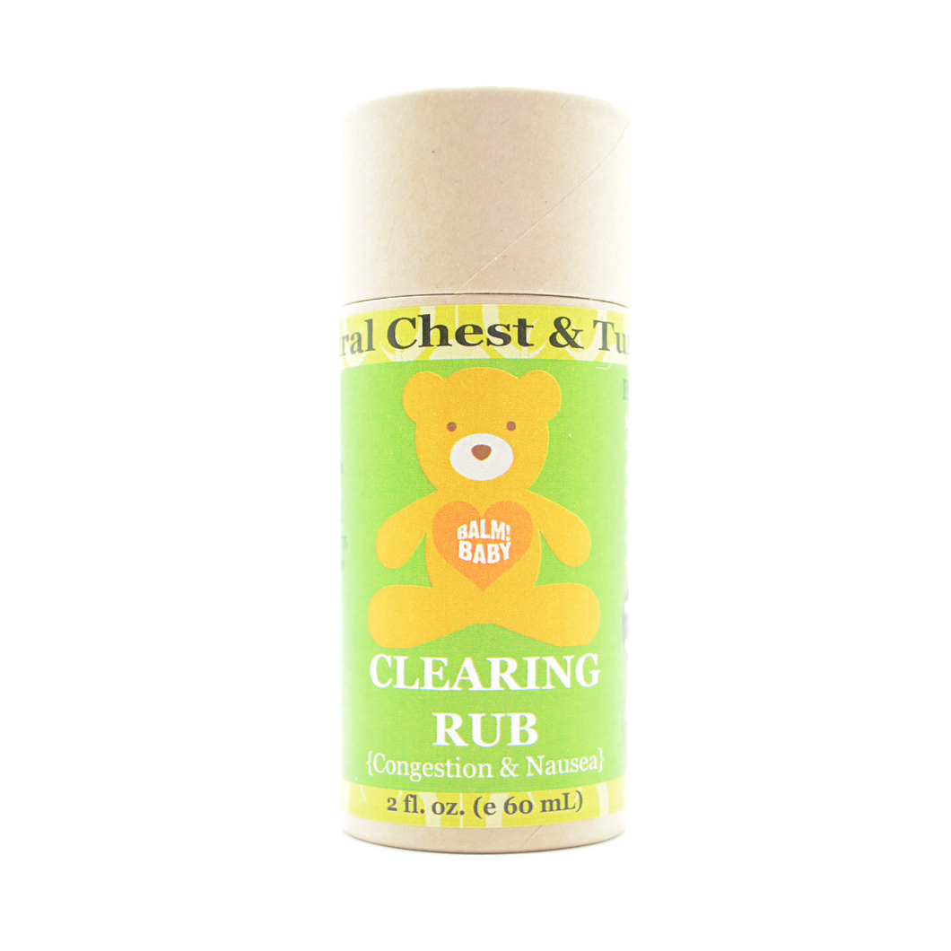 BALM! Baby - Clearing Rub (Eucalyptus) STICK - natural rub for chest and tummy (for congestion & nausea) (2oz Biodegradable Eco Stick)