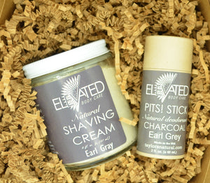 Biodegradable STICK Deodorant + 8oz. Shave Cream in Earl Gray in a Zero-Waste, eco Box with crinkle.