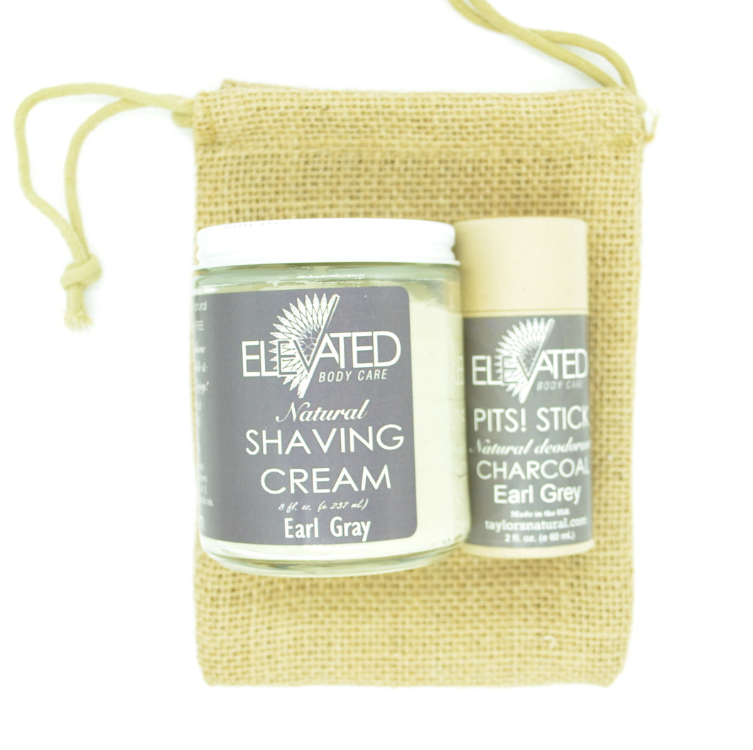 Biodegradable STICK Deodorant + 8oz. Shave Cream in Earl Gray in an ECO friendly Burlap Gift Bag!