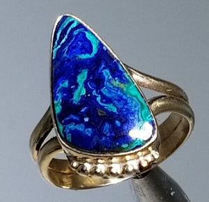 Azurite/malachite ring 14K yellow gold