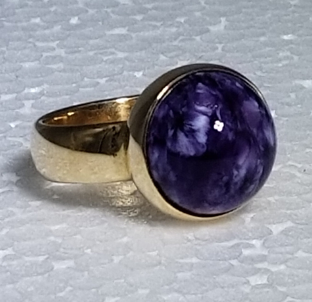 Charoite ring 14K yellow gold