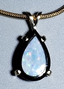 Opal and Onyx 14K yellow gold pendant