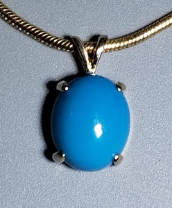 Turquoise Pendant 14K yellow gold
