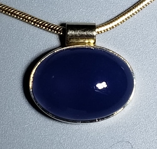 Blue Chalcedony Pendant 14K yellow gold