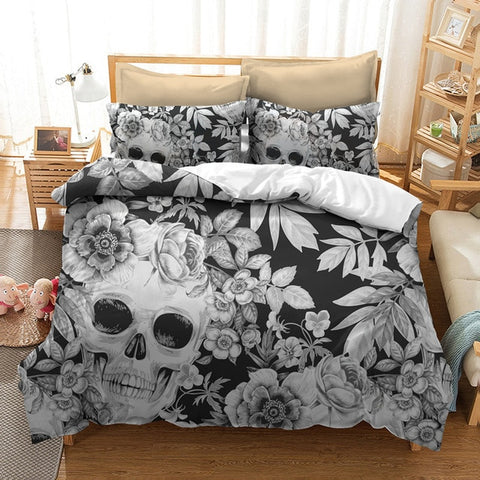 Image of UNAOIWN Skull Duvet And Bedding Set