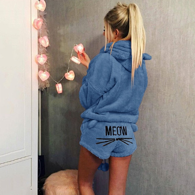 Night Wear Cat Meow Pajama Set