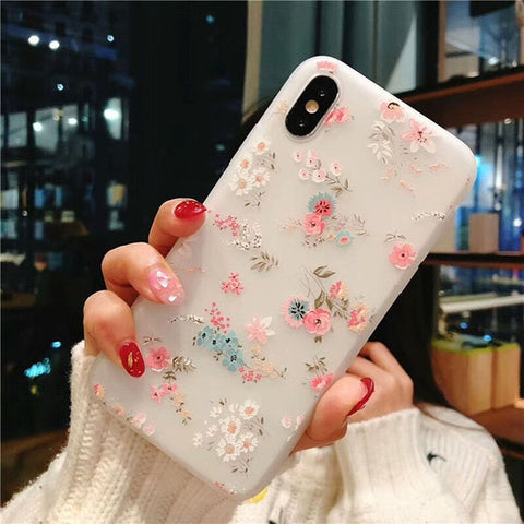 Soft Silicone Floral Phone Cases