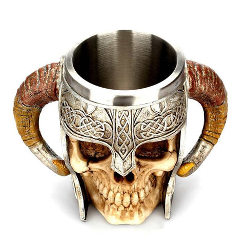 Image of Viking Warrior Skull Mug