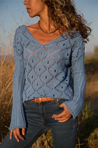 Wnadress Hollow Out Solid Color Long Sleeve Sweaters