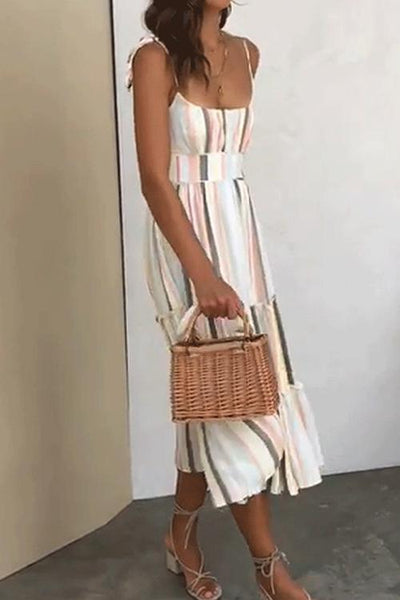 WanaDress Striped Girdle Midi Dress