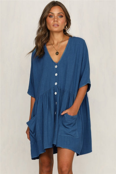 WanaDress V-Neck Pocket Short Casual Dresses