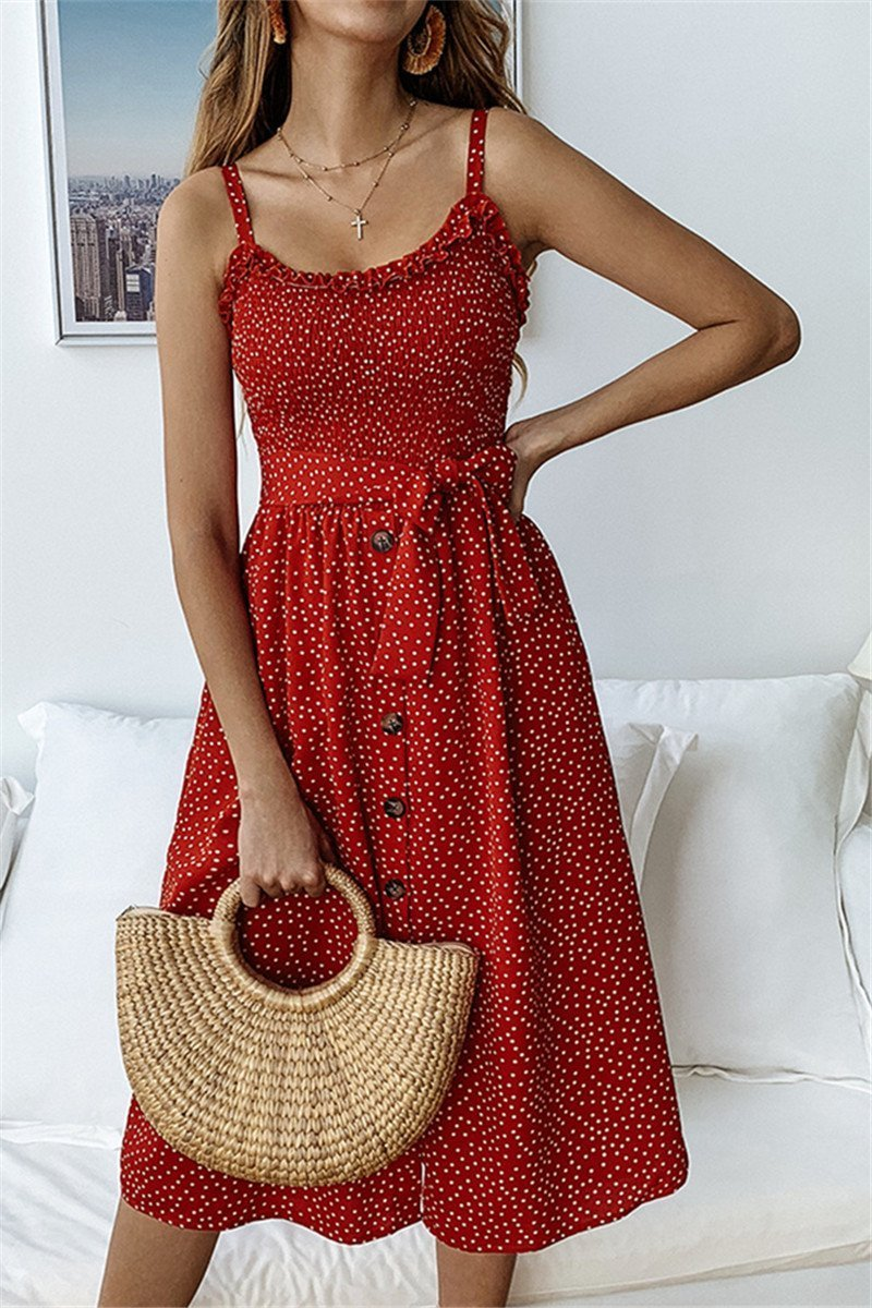WanaDress Dots Print Front Buttons Dress