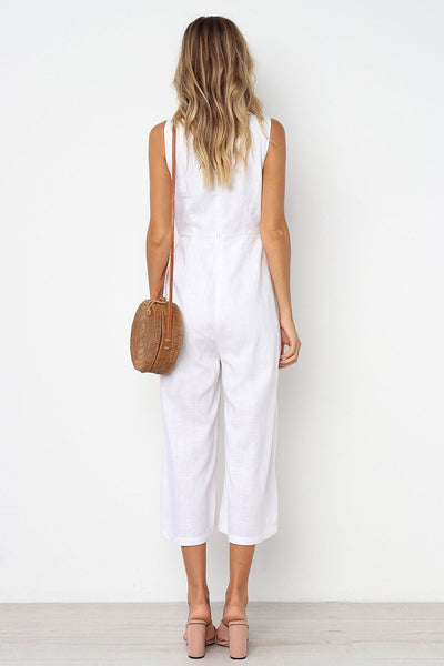WanaDress Buttons Loose Solid One-piece Jumpsuits