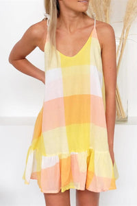 WanaDress Yellow Color Block V-Neck Mini Ruffled Slip Dress