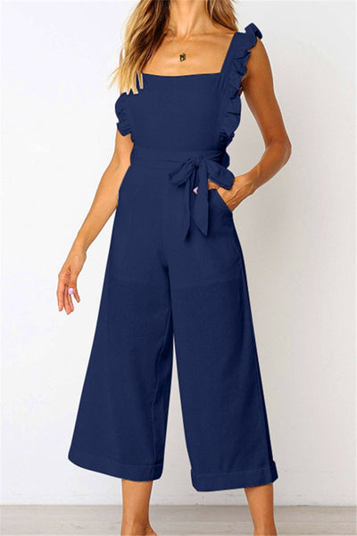 WanaDress Square Neck Ruffles Trim Tied Backless Jumpsuit