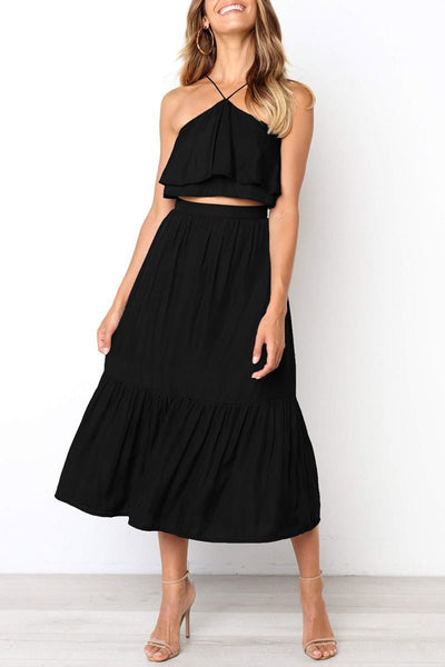 WanaDress Halter Neck Ruffle Design Two-piece Outfits