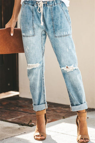 WanaDress Broken Holes Patch Pocket Denim Jeans