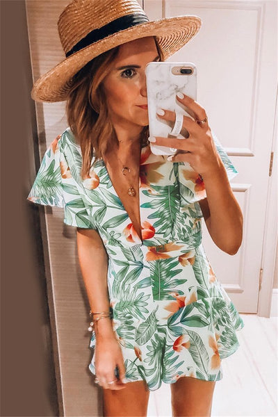 WanaDress Deep V Neck Leaf Ruffle Romper