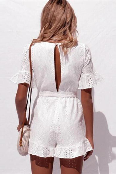 WanaDress Lace Hollow V Neck Rompers
