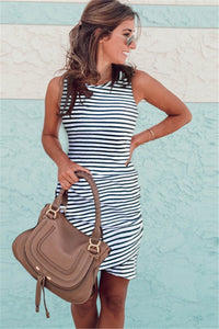 WanaDress Tank Sleeveless Striped Ruched Sheath Mini Dress