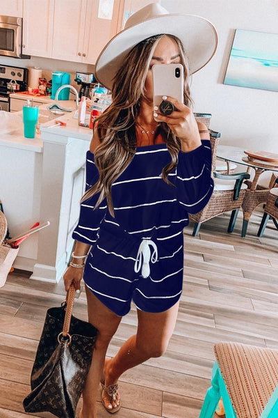 WanaDress Off The Shoulder Drawstring waist Striped Romper
