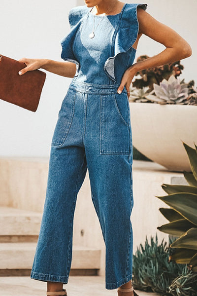 WanaDress  Backless Denim Ruffle Jumpsuts