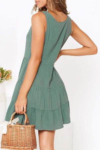 WanaDress Pleated Design Mini A Line Dress