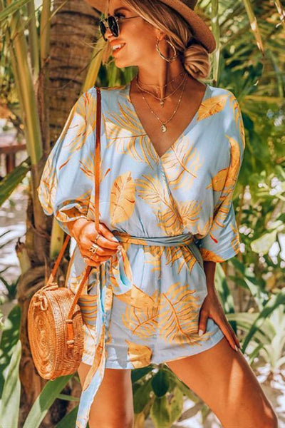 WanaDress Bohemian V Neck Printed Baby Blue One-Piece Romper