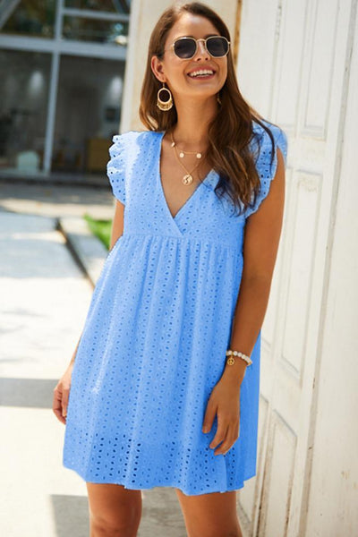 WanaDress Hollow V-Neck Cap Sleeve A-Line High Waist Dress
