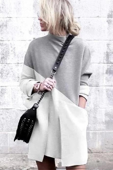 WanaDress Grey Daytime Long Sleeve Knitted Solid Fall Dress