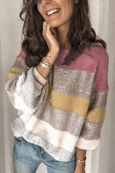 Wnadress Bling Striped Chic Sweater