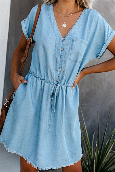 WanaDress Button Drawstring V-neck Denim Dress