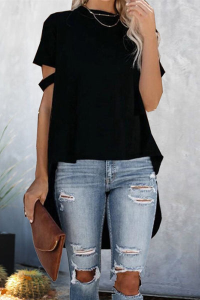 WanaDress Cut-out Short Sleeve High-low T-shirt