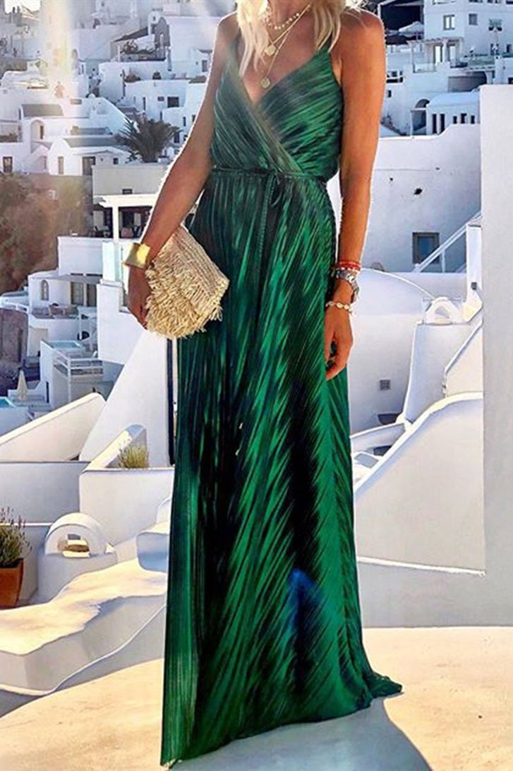 WanaDress V Neck Tunic Satin Maxi Dress