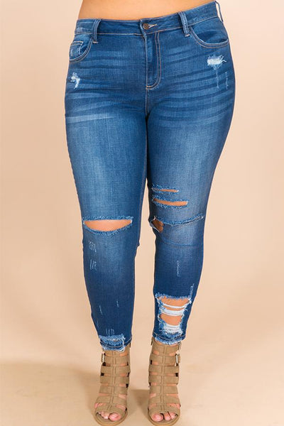 WanaDress Winter Park Distressed Skinny in Dark Wash