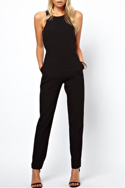 WanaDress Sleeveless Casual Black Jumpsuits With Pockets