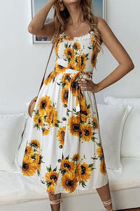 WanaDress Button Sunflower Print Midi Dress